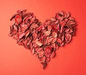 Heart shape made of medley potpourri