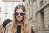Beautiful Model Outside Gucci Fashion Show Building For Milan Women's Fashion Week 2015