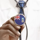 Stethoscope With National Flag Conceptual Series - Falkland Islands
