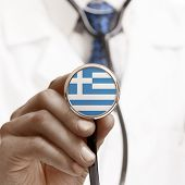 Stethoscope With National Flag Conceptual Series - Hellenic Republic - Greece