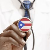 Stethoscope With National Flag Conceptual Series - Puerto Rico