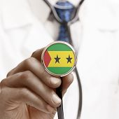 Picture of stethoscope with national flag conceptual series - sao tome and principe.