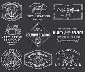 Seafood Labels And Badges Vol. 1 White On Black