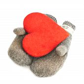 Red heart in two gray mittens