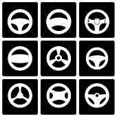 stock photo of steers  - Vector black steering wheels icon set on black background - JPG
