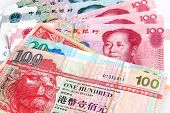 stock photo of yuan  - Chinese Yuan vs Hong Kong Dollars  - JPG
