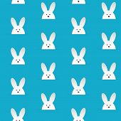 Happy Easter Rabbit Bunny Blue Seamless Background