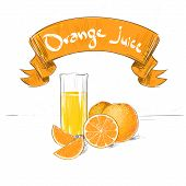 orange juice citrus fruits with glass sketch drawing with text banner