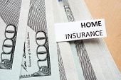 Paper with words home insurance and money.