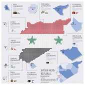 Dot And Flag Map Of Syrian Arab Republic Infographic