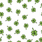 Colorful seamless pattern St. Patrick in doodle style