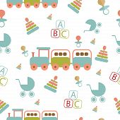 Baby seamless pattern in doodle style