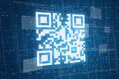 foto of qr codes  - Qr code on blue virtual digital background - JPG