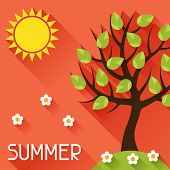 Seasonal illustration with summer tree in flat style.