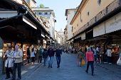 Tourists On Ponte Vecchio.