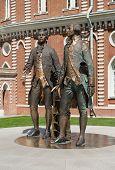 Monument architect Vasily Bazhenov and Matvey Kazakov in Tsaritsyno