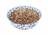 Mixed Red, White And Black Quinoa In A Blue And White China Bowl