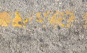 Road Asphalt Texture With Yellow Line