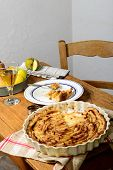 picture of cider apples  - apple pie on a table with apples and glass of cider - JPG