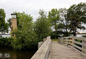 stock photo of lighthouse  - This image features the Asylum Point Lighthouse located on Lake Winnebago Wisconsin U - JPG