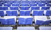 foto of arena  - Closeup rows of blue sports arena seats - JPG