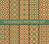 image of ten  - Set of asian seamless patterns in summer colors contains ten unrepeatable ornaments with Swatch for filling - JPG