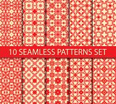 picture of ten  - Set of seamless patterns of japanese tradition contains ten unrepeatable ornaments with Swatch for filling - JPG