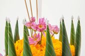 image of floating  - Krathong the hand crafted floating candle made of floating part decorated with green leaves colorful flowers and many sorts of creative materials  - JPG