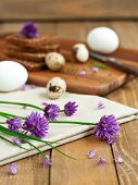 foto of chive  - Fresh rye bread with organic chives and eggs selective focus - JPG