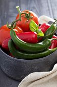 pic of red hot chilli peppers  - Green and red hot pepper in a bowl - JPG