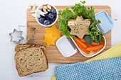 image of lunch box  - Lunch box with sandwich - JPG