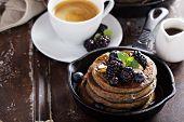 image of buckwheat  - Blueberry pancakes with buckwheat flour for breakfast - JPG