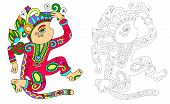 stock photo of creatures  - coloring book page for adults with unusual fantastic creature in decorative Ukrainian karakoko style - JPG
