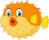 foto of animated cartoon  - Vector illustration of Cute puffer fish cartoon - JPG