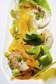 stock photo of scallops  - Salad with scallops and shrimp - JPG