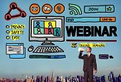 stock photo of seminar  - Webinar Online Seminar Global Communications Concept - JPG