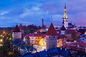 picture of olaf  - Aerial view of Tallinn Medieval Old Town illuminated in night - JPG