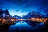 stock photo of reining  - sunset  in Reine Village - JPG