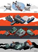 picture of artillery  - Military equipment horizontal banners set with isometric aviation fleet artillery elements isolated vector illustration - JPG