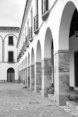 pic of arcade  - Whitewashed arcade on Berja main square Almeria Andalusia - JPG