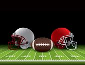 foto of football helmet  - American football helmets and ball sitting on a realistic turf field - JPG