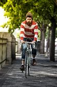 stock photo of moustache  - Handsome big moustache hipster man in the city - JPG