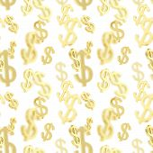 image of currency  - Seamless background texture pattern made of golden usd dollar currency signs over white - JPG