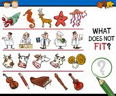 pic of brain-teaser  - Cartoon Vector Illustration of Finding Improper Item Educational Game for Preschool Children with Different Elements - JPG