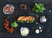 pic of baguette  - Ingredients for sandwich with smoked meat - JPG