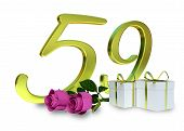 picture of fifties  - birthday concept with pink roses and gifts  - JPG