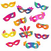 stock photo of pageant  - Set of carnival masks different forms and colour - JPG