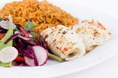 stock photo of soles  - baked sole fish roll with rice and fresh salad dish - JPG