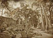 pic of buddhist  - Ancient buddhist khmer temple in Angkor Wat complex in grunge and retro style - JPG