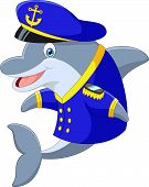 picture of dolphin  - Vector illustration of Standing little cartoon Dolphin using uniform Captain - JPG